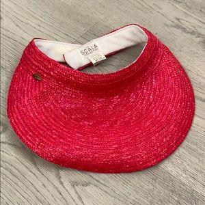 Scala Red ratan style vacation hat sun visor